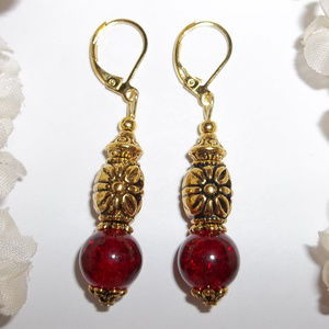 Sexy Red and Gold Dangle Earrings Jewelry Woman